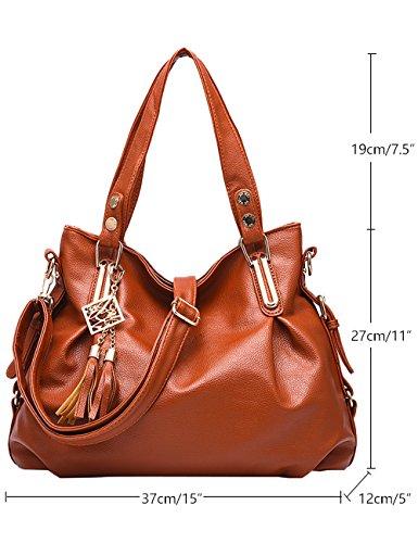 Menschwear Leather Tote Bag lucida PU nuove signore borsa a tracolla Rosa 1 Giallo Marrone