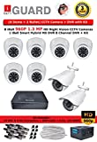 iBall CCTV 960P 1.3 MP HD 8 CCTV Cameras With 8 Channel HD DVR - Kit Includes ( 6 Dome + 2 Bullet + HD DVR + CCTV SMPS + 16 BNC + 8 DC Connectors + 90 Meter Cable )