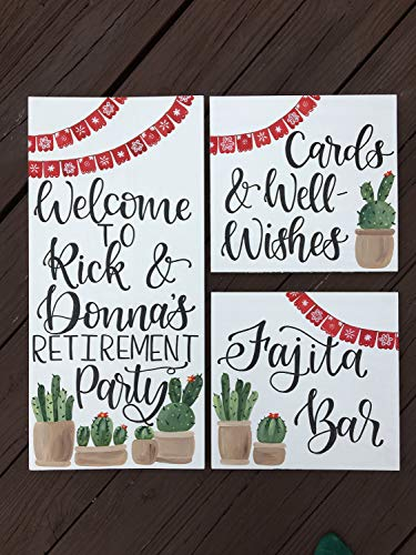 (55BoydSan Custom Party Schild Set von 3 Holzschildern S Fiesta Party Fiesta Event Fajita Bar Custom Holz Schild Fiesta Dekor Kaktus Geburtstag)