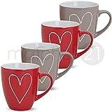 matches21 Große Tassen Becher Herzen Herzdekor rot / grau 4 Stk. Set aus Keramik gefertigt je 10 cm / 350 ml