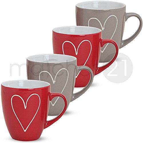 matches21 Große Tassen Becher Herzen Herzdekor rot/grau 4 Stk. Set aus Keramik gefertigt je 11 cm / 400 ml