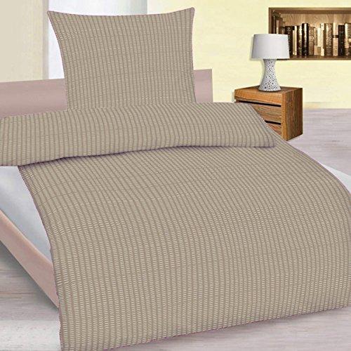 Preisvergleich Produktbild 4 teiliges Set Mikrofaser Seersucker Sommer Bettwäsche Standardgröße 135x200 + 80x80cm einfarbig bügelfrei , Farbauswahl:Stone