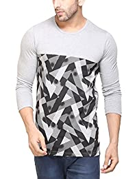 Unisopent Mens Round Neck Full Sleeves Printed T-shirt(Grey)