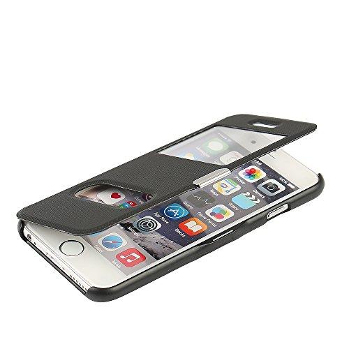 MTRONX für Apple iPhone 6s Hülle, iPhone 6 Hülle, Dual Fenster-Ansicht Magnetisch Schutzhülle Tasche Etui Klapphülle Twill PU Leder Dünn Folio Flip Case Cover - Schwarz(MG2-BK) (Iphone 6 Wallet Schieben)