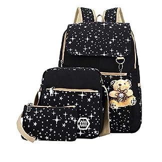3 Unids/Set Mujeres Mochila Mochila Lona, Mochilas Escolares Impresión De La Estrella Mochilas Lindas para Adolescentes Niñas Bolsa De Viaje Mochilas -Negro Oso