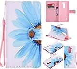 Nancen Compatible with Handyhülle LG G Stylo 2 / LG Stylus 2 / LG Stylus 2 Plus LS775 K520 Hülle/Handyhülle, Painted Blume PU Leder Tasche Schutzhülle Case [Blaue Blumen]