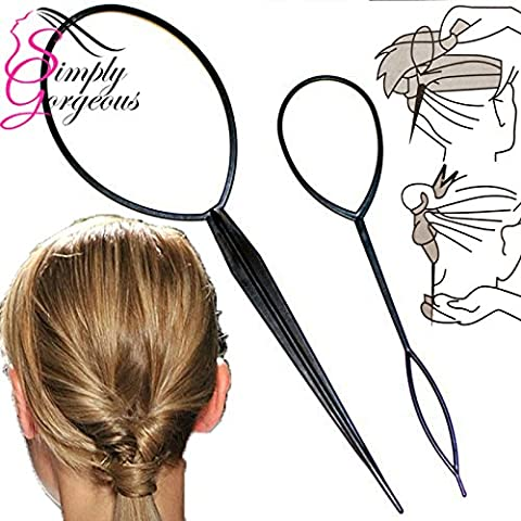 Simply Gorgeous 2 Piece Twist & Loop Ponytail Maker Hair Braid Styling Tool