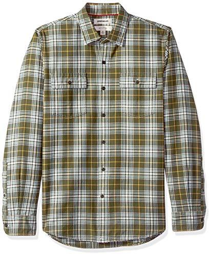 Marca Amazon - Goodthreads - Camisa de manga larga de espiga a cuadros de corte entallado para hombre, Verde (Olive Plaid Oli), US L (EU L)