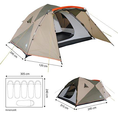 Lumaland Outdoor Pop up Familienzelt Wurfzelt 6 Personen Zelt Camping Festival Etc. 315 x 245 x 170 cm robust Grün - 4