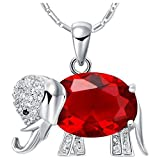 JewelleryClub Collar Elefante 925 Plata Rojo Swarovski Elements...
