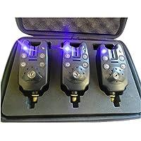 (3 pièces par Set) Son et Lumière de Pêche Bite Alarmes, avec 1 Sortie Haut-parleur et 2 LED verrouillable Indicateur [Fonction réglable: 3 modes de sensibilité, 4 modes de Tone et 5 modes de volume] par Discoball