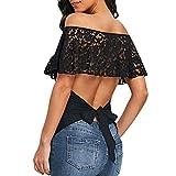 Hauts d'été, YUYOUG Mode Femmes Épaule Sexy Dentelle Dos Nu Hors Bandage Bandage Overlay T-Shirt Tops (2XL)