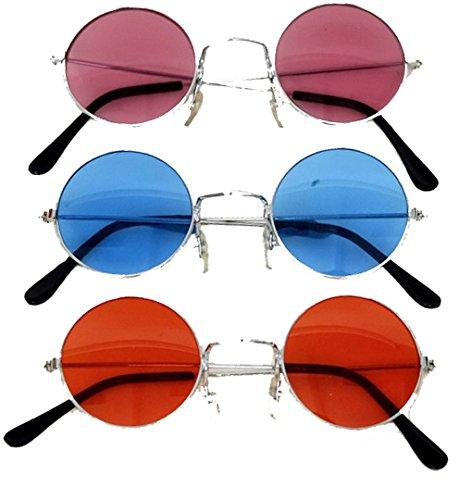 Lennon-Brille in rot | Einheitsgröße Erwachsene | Hippie-Brille für Damen und (Sonnenbrille Kostüm Lennon John)