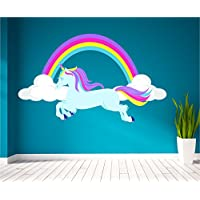 Red Parrot Graphics Horse Unicorn Rainbow Girls Pretty Clouds Wall Art Sticker Decal Mural Print (other (Large 128cm x 76cm) P1W