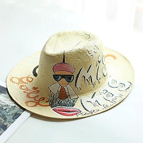 HAT,Spring Summer hat ,chapeau de paille, rue élégant plat le long du cap Jazz, peints à la main, dieu mâle graffiti cat,AJUSTABLE,l'ivoire
