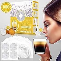 CAPMESSO 1000pcs Self Adhesive Aluminum Foil Lids +6 Gold Reusable Refillable Nespresso Capsules Coffee Pods Filters for Nespresso