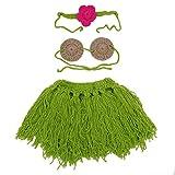CHIC-CHIC 3PC Haarband+ Top + Kleid für neugeborenes Kleinkind Gestrickte Häkelkleidung Bikini Blumen Foto Prop Outfits Hula Kleid Bastrock 0-10 Monate (0-10Monate)