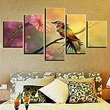 xzfddn Leinwanddruck Poster Wand Kunst Wohnkultur 5 Stücke Kolibri Sammeln Nektar Malerei Fantasie Blume Beija-Flor Bilder