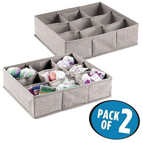 mDesign 2er-Set Baby Organizer - große Aufbewahrungsbox mit 9 Fächern für Socken, etc. - auch zur Spielzeug Aufbewahrung geeignet - grau