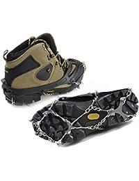 Crampones para zapatos y botas, crampones para botas de senderismo, inoxidable cornamusa, Spike dientes, antideslizante nieve, hielo y maraña