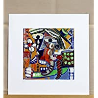quadro moderno su tela, titolo (l'urlo) Riproduzione su tela con retouche, olio su tela, opera certificata di Alessandro Siviglia 20x20 cm con passepartout 30x30 cm foro centrale 19x19 cm