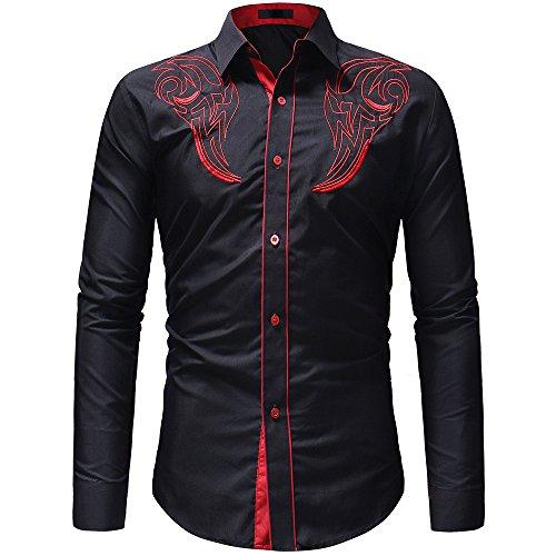 DNOQN Coole Shirts Herren Langarmshirt Herren Herbst Winter Beiläufig Stickerei Pullover Langarm T-Shirt Top Bluse M