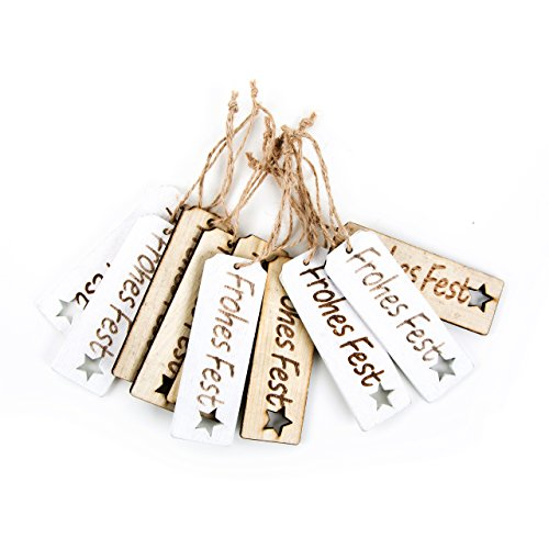 10 Stück Weihnachten Text FROHES FEST Geschenkanhänger Holz weiß natur weihnachtliche Anhänger für Geschenke 9 cm Baumschmuck Weihnachts-Deko zum Aufhängen