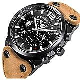 BERSIGAR Reloj Deportivo de Cuarzo analógico Negro con Esqueleto Negro y Correa de Cuero para Hombres