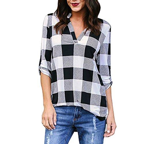 KUDICO Damen Oberteile T-Shirt Kurzarm Bluse mit V-Ausschnitt Kariertes Hemd mit unregelmäßigem Saum Tunika Top(Schwarz, S)