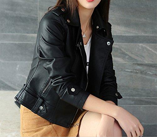 Ghope Damen Herbst Leder Jacke Black Zipper Kunstlederjacke Koreanischer Stil Schwarz