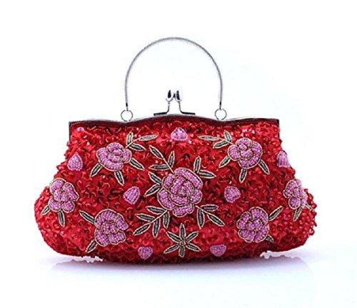 Perlen Hobo Bag (Pailletten Dinner Folk Style Clutch Bag Hand-Perlen-Tasche-D)