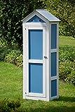 dobar schweres Gerätehaus aus Holz, Gartenschrank schon fertig aufgebaut, 61,5 x 41,5 x 185 cm,  blau / weiß - 4