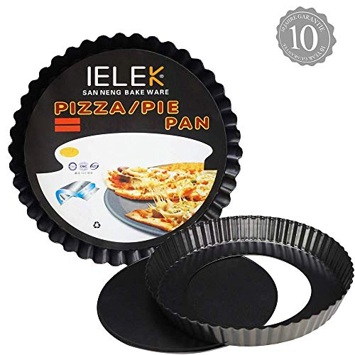 Eulan Tart Flan Pie Pan Nonstick Heavy Duty 10 Inch Quiche Cheese Molds with Removable Loose Bottom Fluted Non-stick 10 Fluted