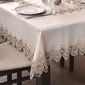 140x400 Oval gold Tischdecke Gipüre fleckenabweisend Lotus Effekt elegant praktisch außergewöhnlich klassisch