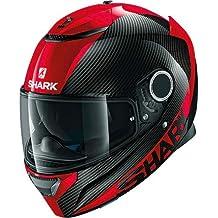 Shark - Casco de moto SPARTAN CARBON SKIN DRR, negro y rojo, talla M
