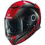 SHARK SPARTAN CARBON SKIN DRR Motorcycle Helmet, Black/Red, Size S