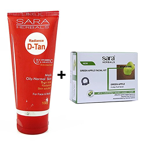Sara Green Apple Facial Kit With Radiance D-tan Mask 100 grams  available at amazon for Rs.999