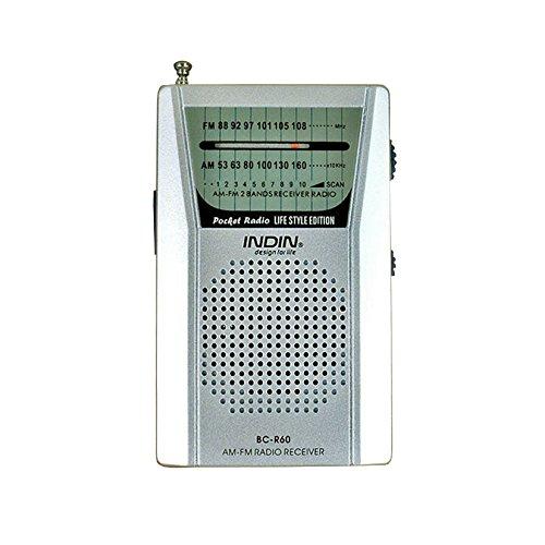 Kongnijiwa BC R60 Pocket Radio Teleskopantenne Mini AM/FM 2 Band Radio Weltempfänger mit Lautsprechern 3,5 mm Kopfhörerbuchse Fm-tune