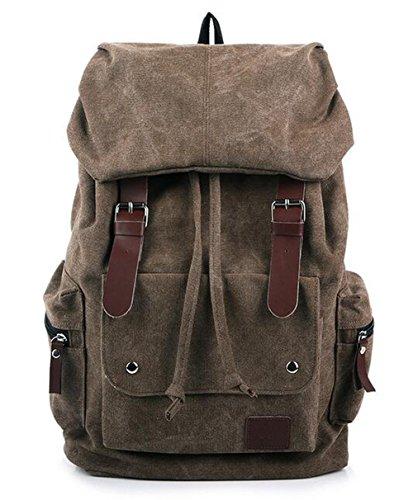 Arrowhunt Unisex Einfarbig Große Multi-Tasche Gewaschene Leinwand Reisen Rucksack Caffee