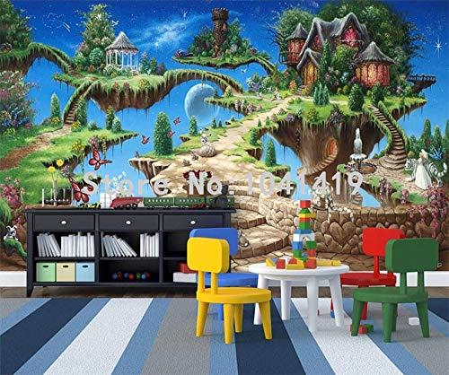 Muraon Fototapete 3D Stereo Cartoon Märchenschloss Wandbild Kinder Schlafzimmer Wohnzimmer Vergnügungspark Hintergrund Wandmalerei Fresko, 250x175 cm (98.4 von 68.9 in)