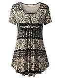 WAJAT Femme T-Shirt Vintage Manches Courtes Polo Col V Tunique Impression Noir XL