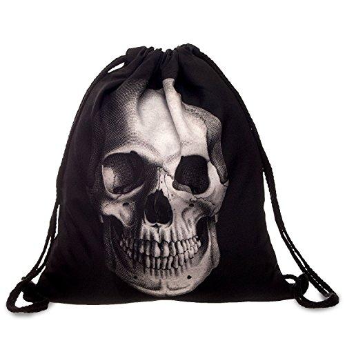 Fullprint Damen Herren Tasche mit Kordelzug Kids PE Bag Teenage Schulter Schule Handtasche Rucksack String Reisen Gym Mehrfarbig Skull Black Einheitsgröße : Hoch 40 cm/Länge 33 cm -