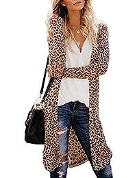b7ee030799b3 AchidistviQ Casual Donne Leopardo/Camouflage Cardigan Aperto Davanti Lungo  Cappotto Slim Fit Outwear, Leopard