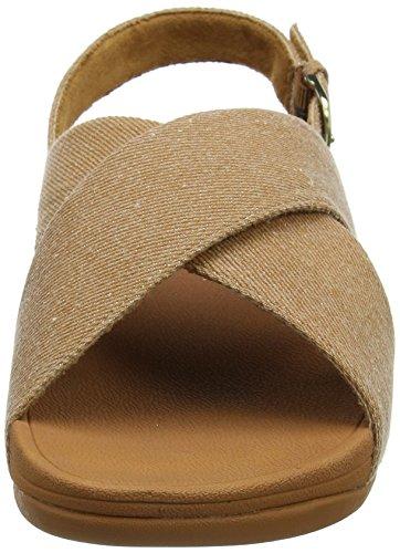 Fitflop Lulu Cross Back-Strap Sandals Shimmer, Sandali Punta Aperta Donna Beige (Beige Shimmer-Denim)
