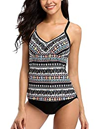Attraco Damen Two Piece Tribal Tankini Set Mit Schwarzem Slip Azteken