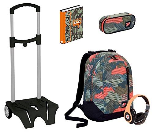 Kit scuola zaino + easy trolley + portapenne + diario seven - the double camouflage verde - cuffie stereo con grafica abbinata incluse! 2 zaini in 1 reversibile
