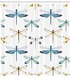 Abakuhaus Duschvorhang, Sammlung von Vielen Symmetrischen Libellen Muster Mehrfarbig Symbol Druck Design, Blickdicht aus Stoff inkl. 12 Ringen Umweltfreundlich Waschbar, 175 X 200 cm