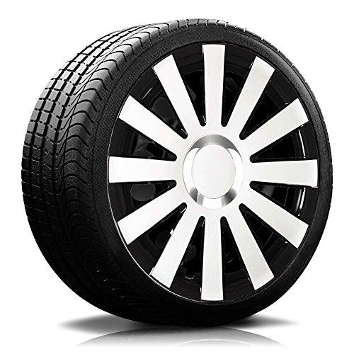 Eight Tec Handelsagentur (Farbe und Größe wählbar!) 16 Zoll Radkappen Onyx (Schwarz-Weiß) passend für Fast alle Fahrzeugtypen (universell) - vom Radkappen König