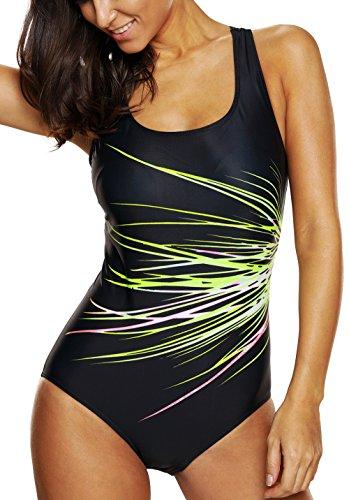 CharmLeaks Damen One Piece Figuroptimizer Wassersport Badeanzug Vershiedene Farben 3300 Grün 40 (Herstellergröße L)