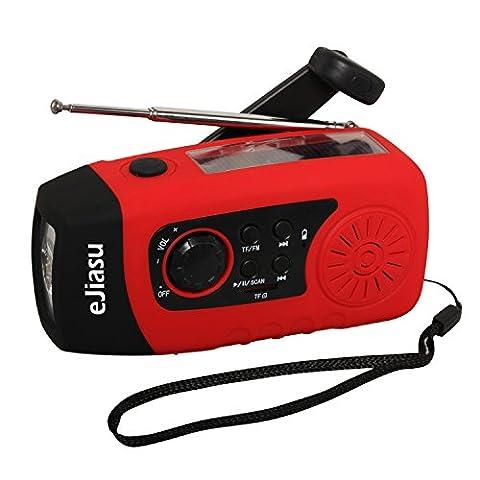 eJiasu Multifunction Dynamo Solar Hand Crank Self Powered FM Radio, [2000mAh] Emergency Power Bank & (Autoalimentato Torcia)